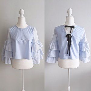 Zara Tiered Ruffle Bell Sleeve Tie Back Boxy Top